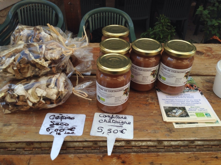 Sault market cheese stand with Cepes (mushrooms) and Confiture Châtaigne