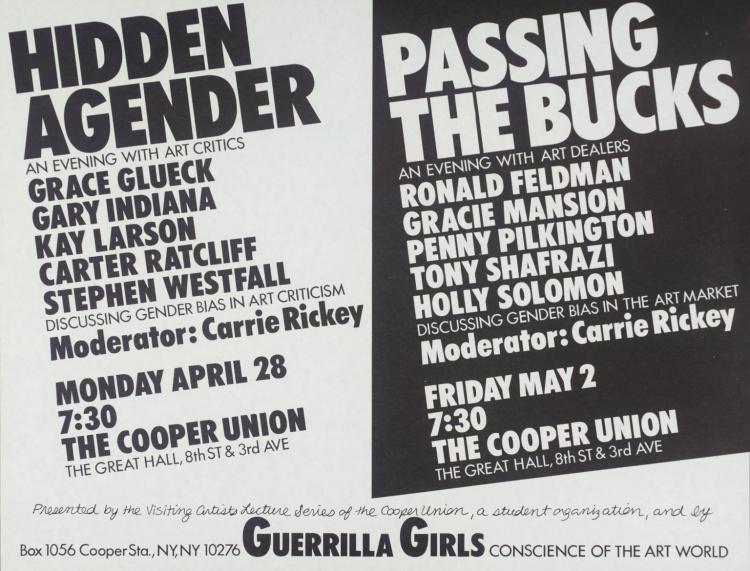 Hidden Agender/Passing The Bucks 1986 Guerrilla Girls